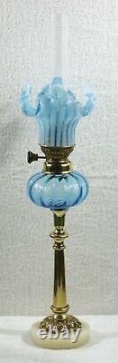 French Turquoise Internally Ribbed Peg Kerosene Oil Lamp & Shade