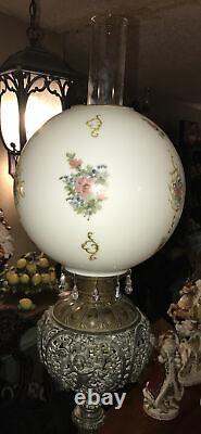 GWTW Antique Victorian Ornate Metal Cherub Banquet Parlor Kerosene Oil Lamp 44