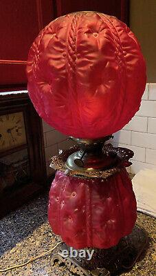 GWTW Oil LAMP Red Puffy Satin Glass Hollyhock Pittsburg Success Electrified 1915