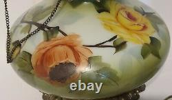 Gone With The Wind Gwtw Antique Oil Banquet Parlor Flowers Lamp Converted