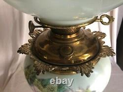 Gorgeous GONE WITH THE WIND Oil Lamp ROSE & DAISIES Milk Glass GWTW pink G2-1