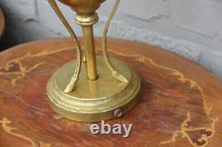 Gorgeous antique copper ram heads oil lamp
