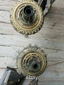 Great 3 Piece Bronze Argand Oil Lamp Set W Eagles- Prisms