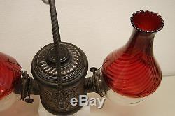 Gwtw Victorian Antique Bronze Arts Crafts Glass Kerosene Oil Angle Hanging Lamp