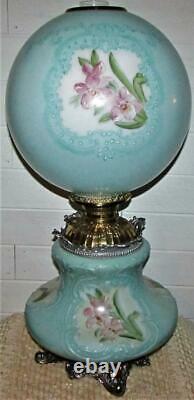 HUGE Antique GWTW Oil Kerosene Lamp Hand Painted Floral Ornate Complete Restored