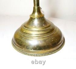HUGE antique brass red case glass converted oil electric student desk table lamp