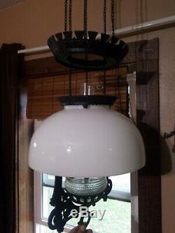 Hubbard & Bradley Hanging Kerosene Oil Lamp Holder Cast Iron Victorian Antique