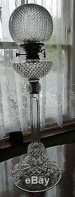 Huge Original Victorian F & C Osler Cut Glass Duplex Oil Lamp
