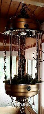 Huge Vintage metal Hanging swag mineral oil Rain Lamp Nude Lady Greek Goddess