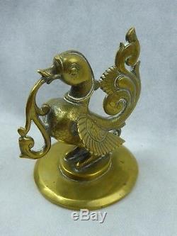 Indian Antique Hamsa Bird Oil Lamp Finial In Bronze Fine Quality Deccan C19th