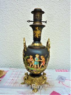 LAMPE HUILE PÉTROLE 19ème BRONZE DORÉ PORCELAINE PARIS ANTIQUE OIL LAMP LAMPARA