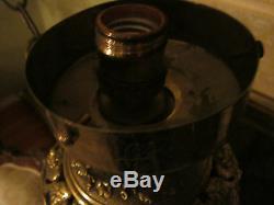 LG 18th c Antique French Figural Bronze oil/kerosine hanging Lamp/Chandelier