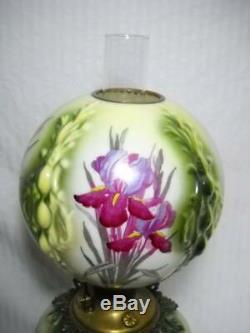 Large 27 Antique GWTW Oil Lamp Embossed Design with Beautiful Irises