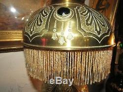 Large Antique Art Nouveau French Cabochon Oil Lamp Electrified