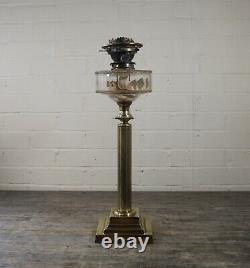 Large Antique Hinks No2 Solid Corinthian Column Brass Oil Lamp