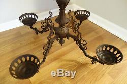 Large Antique Victorian Cast Iron 4 Arm Bracket Oil Lamp Chandelier HTF