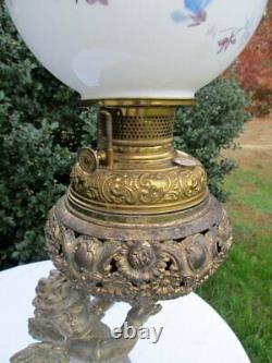 Large Antique Victorian Metal Cherub Statue Banquet Parlor Kerosene Oil Lamp 30