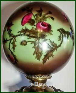 Large C. 1800's Hand Painted Thistle GWTW Oil Lamp Electrified One Of The Best