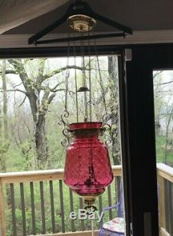 Large Cranberry Diamond Optic Glass Pull Down Hanging Oil Lamp Indoor & Outdoor