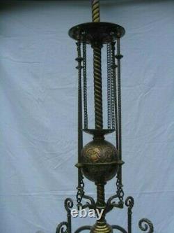 Large Fancy Antique Victorian Brass Chandelier Kerosene Oil Gas Lamp Light