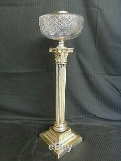 Large Messengers Cut Glass Corinthian Oil Lamp Base