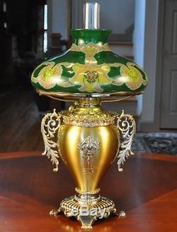Large Victorian Trophy Oil Lamp w Art Nouveau Shade Handel