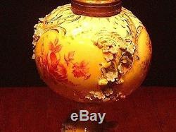 Lg 18 Antique German Porcelain Carl Thieme Factory Porcerlain Banquet Oil Lamp