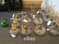 Lot of 18 Antique Vintage Clear Glass Oil Kerosene Hurricane Lamp, Peg, Chimneys