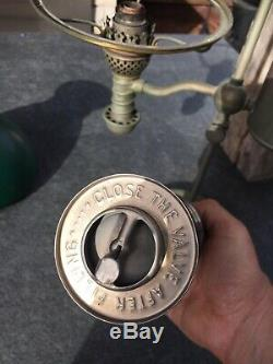 Manhattan Brass Antique Student Lamp Oil Complete and Orginal w Macbeth Pearl