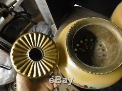 Matching Pair Large Fostoria GWTW Kerosene Oil Lamps Roses