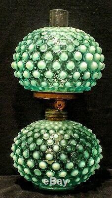 Miniature Antique Blue Opalescent Hobnail Oil / Kerosene Lamp & Shade