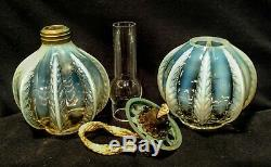Miniature Lamp Antique Opalescent feather pattern 7.5H oil kerosene late 1800's
