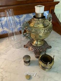 NEW ROCHESTER EMBOSSED BRASS FINISH WithARMS ANTIQUE CENTER DRAFT OIL LAMP