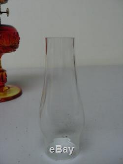 NICE AMBERINA DAISY & CUBE PRESSED GLASS MINIATURE OIL LAMP with NUTMEG BURNER