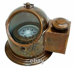 Nautical Brass Oil Lamp Binnacle Gimballed Compass Maritime Ship Lantern Boat