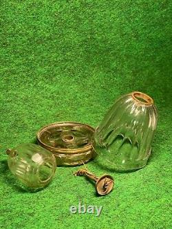 Nice Old Early 1800's All Glass Opium Era Oil Lamp With A Reinforcing Brass Band