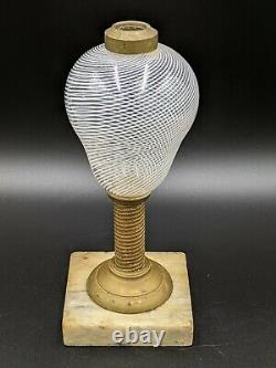 Nicholas Lutz Latticinio Boston & Sandwich Glass Whale Oil Lamp with Marble Base