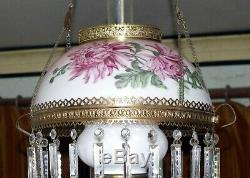 Numbered Hand Painted Milk Glass Hanging Kerosene Oil Lamp Shade