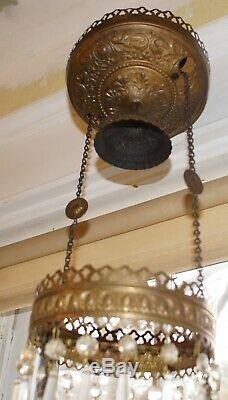 ORIGINAL ANTIQUE MILLER HANGING OIL LAMP With MILK GLASS SHADE