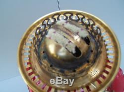Oil lamp antique Hinks key lift burner brass cranberry tulip shade Tall OL6
