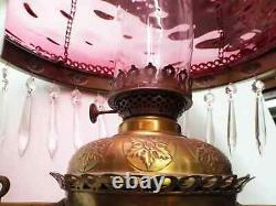 Old Antique Brass HANGING OIL LAMP with CRANBERRY BULLSEYE Shade Jeweled Frame
