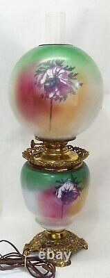 Old Antique FLORAL Pink Green GONE WITH THE WIND Electrified Oil LAMP -COMPLETE