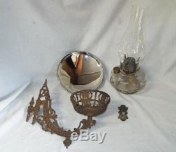 Old Antique Victorian Wall BRACKET OIL LAMP Cast Iron with Mercury Glass Reflector
