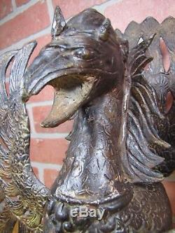 Old PHOENIX FIRE BIRD Figural Bronze Oil Lamp Large Decorative Arts w Hang Chain