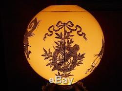 Original Antique Bradley & Hubbard Dragon Gwtw Oil Lamp Gold Gilt Globe Shade