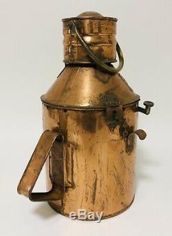 Original Antique Ships Marine Copper Signal Lamp Lantern Light with Oil Burner