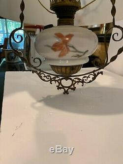 Original Hanging Oil Lamp Hand Painted Floral Victorian NICE! EARLY