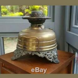 Original VICTORIAN Yellow Green Vaseline Glass Oil Lamp Shade & Huge Heater Lamp
