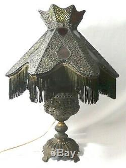 Original Victorian Oil-To-Electric 8-Sided LAMP Fringed Shade. Stained Glass. 30H