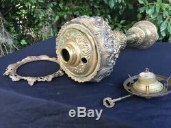 Ornate Antique Banquet Type Ball Shade Oil Lamp Italian Electrified